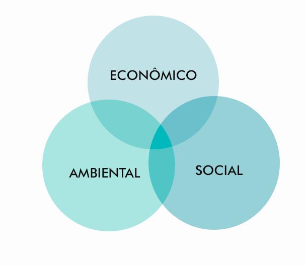A imagem possui círculos unidos com os nomes dos pilares da sustentabilidade